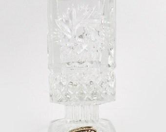 Rare beautiful vintage Bohemia lead crystal mini glass square vase made in Czechoslovakia, beautiful glass small bud vase, small vase