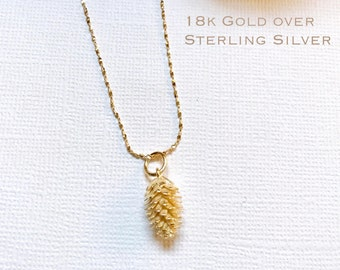 Gold over Sterling Silver Pine cone necklace, Silver Pinecone necklace, Bridesmaid jewelry, Tiny Pine cone necklace, Dainty Gold necklace