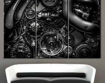 Car Engine, wall decor, motor parts, small engine parts, engine parts art, print engine, engine picture, canvas car engine