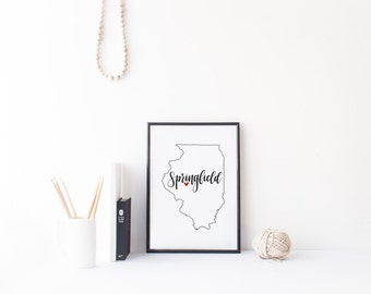 Illinois Print - State Print - Hand Lettered Print - Illinois - Custom State Print - Personalized State Print - Custom State Sign - Sign