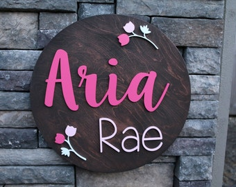 18 inch Round Custom Name Sign - Custom Quote Sign - Personalized Sign - Nursery Decor - Playroom -3D Sign- Family Name Sign- Raised Letters
