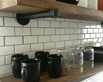 Pipe Shelf | Industrial Shelf | Floating Shelves | Pipe Shelves | Wood Shelves