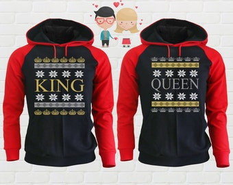 Merry Christmas Two Color King Queen Ugly Sweater Matching Clothing Gifts for Couples Funny Christmas Clothing Holiday Shirts Xmas Shirts