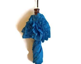 Vintage Ruffled Nylon Umbrella - 80s - Blue