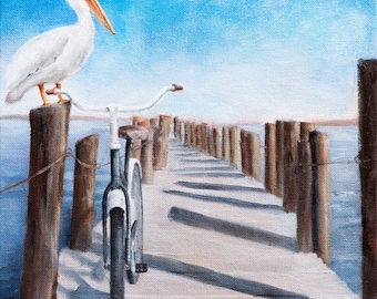 BIKE GUARD - Original Oil Painting - Canvas Wall Art - Fine Art Ready To Hang- Prints Available - Pelican Seaside Pier Bicycle Ocean Summer