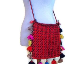 Vintage Boho Bag, Bohemian handbag, Vintage Boho shoulder bag, Red Bag, Pom pom fringed bag, Fringe bag, Hipster bag, festival bag
