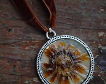 Rustic Velvet Wildflower Necklace