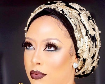Executive Tulle Beaded Sequin Velvet Turban headwrap. Hijab Head wrap, One size fit all.