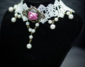 Beautiful costume chain Dirndl necklace folk festival Oktoberfest Gothic Lolita jewelry with rose in white and bronze