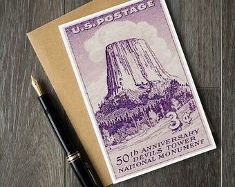 Wyoming retirement gift ideas, Wyoming wedding invitations, Devils Tower National Monument, Bear Lodge Butte, vintage Wyoming post cards