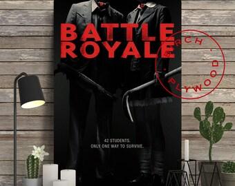 BATTLE ROYALE - Poster on Wood, Kinji Fukasaku, Takeshi Kitano, Chiaki Kuriyama, Print on Wood, Unique Gift, Wood Gift, Wood Wall Decor