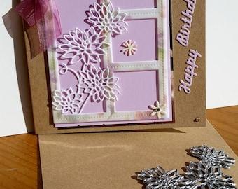 A square blank Kraft card, handmade, handcrafted, embellished.