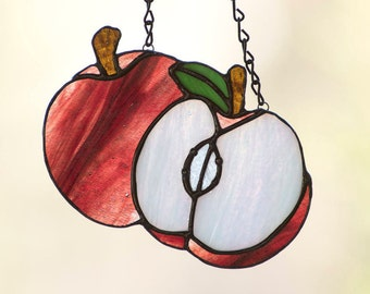 Sparkling Red Stained Glass Apple Suncatcher