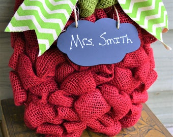 Teacher Appreciation Gift - Burlap Apple Wreath, Small or Large, Free Personalization for Your Favorite Teacher