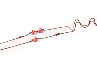 Origami B-Berlingot asymmetrical necklace - red necklace
