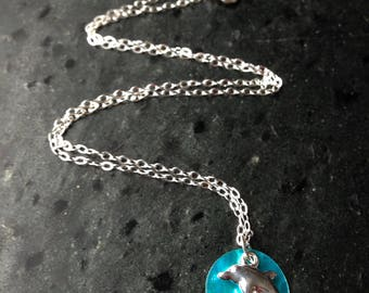 Sterling silver handmade dolphin and shell necklace