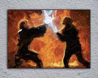 Star Wars Anakin Skywalker vs Obi Wan Kenobi Duel on Mustafar Framed Painting Print