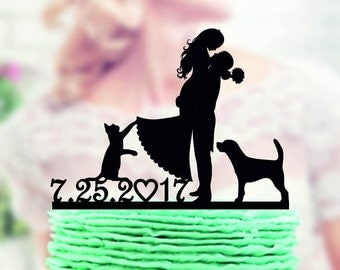 wedding cake topper with dog and cat, Wedding Cake Topper + dog + cat , Wedding Cake topper with Cat , Wedding cake topper with dog , topper