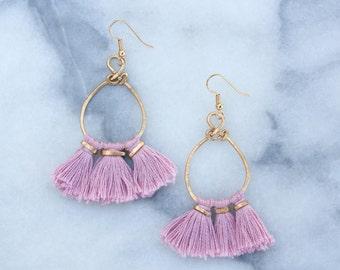 Pink Tassel Earrings, Hammered Metal, Boho Earrings, Summer Festival Earrings