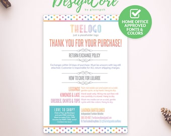 Thank You Cards, Care Cards, Home Office Approved, Personalized, Polka Dot, Digital Files, Marketing, Fashion Consultant Retailer, DCTYC001