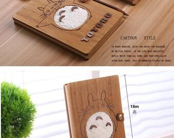 Totoro Planner,Wooden Planner,Kawaii planner,wooden pen,Diary,Wooden diary,blank insert,blank planner,sketchbook,blank book