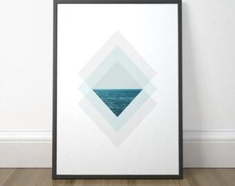 Scandinavian Art, Modern Geometric Art, Minimalist Ocean Print, Gallery Wall Decor, Minimalist Coastal Art, Instant Download, Digital Print