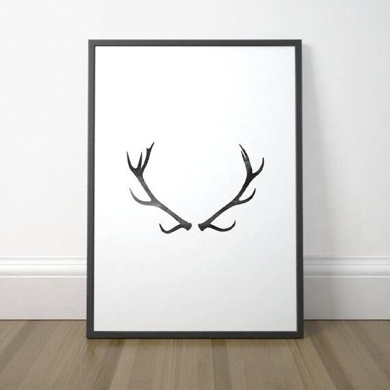 Modern Printable Decor Gallery Wall Art Deer Art Antler