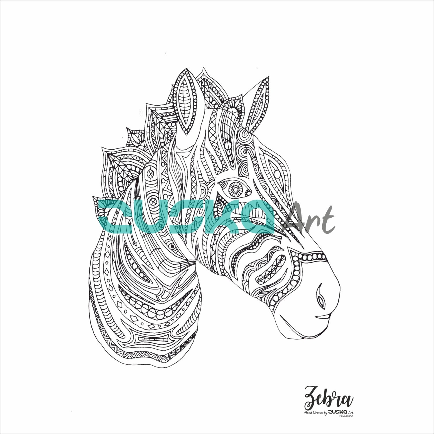 zebra coloring page instant download coloring book