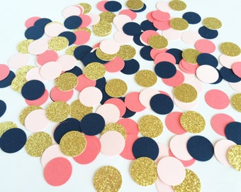 Navy Pink and Gold Confetti - Party Confetti - Large Confetti - Birthday Confetti - Baby Shower Confetti