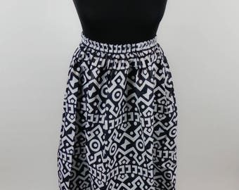 Bogolan high waist cotton skirt