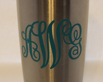 car decal/Vinyl Monogram/Yeti Decal//Monogram/Vinyl Decal/Fancy Script Monogram
