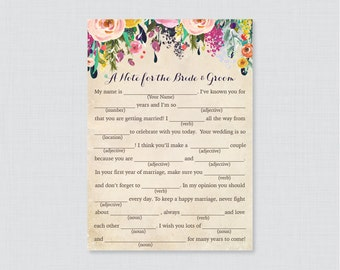 Printable Wedding Mad Libs - Floral Wedding Mad Libs Cards for Advice - Colorful Flower Wedding Reception Game/Activity Shabby Chic 0003-A