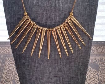 Gold Spike 16 inch long Necklace