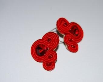 Soutache earrings-soutache earrings-earrings small soutache-red earrings soutache, soutache red earrings