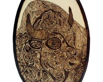Woodburned Bison Oval Plaque