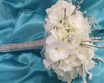 Rhinestone Bouquet, Winter bouquet, Winter Wedding, Snow branches, Hanging Pearls