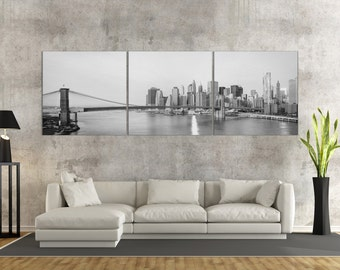 New York City Skyline and Brooklyn Bridge B&WLeather Print/Large New York Print/New York Wall Art/Multi Panel Print/Better than Canvas!