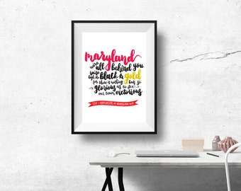 University of Maryland Print with Custom Digital Calligraphy