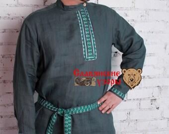 "Men's Shirt ""Woodsman"", Men linen shirt, russian shirt, slavis shirt, cossack shirt, grey shirt, kosovorotka"