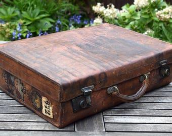 Vintage suitcase,vintage luggage,retro suitcase,travel,photo prop,suitcase,vintage home decor,leather luggage tag,leather briefcase