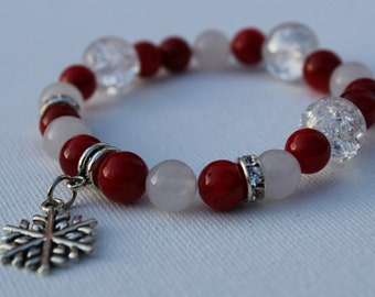 Red Bamboo Coral and Silver Christmas Charm Bracelet