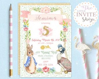 Peter Rabbit Jemima Duck Invite | Birthday Party Invitation | Customised Personalised Digital Download | Printable | Floral Woodland