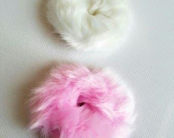 90s scrunchies fuzzy hair tie, Pink & White