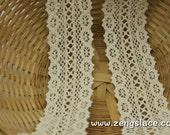 Beige crochet lace trim/Cotton Lace Trim/Lace Insertion Trim/Vintage Lace Trim/Couture Trim/Edwardian Lace/Insertion Lace by the yard, CL-11