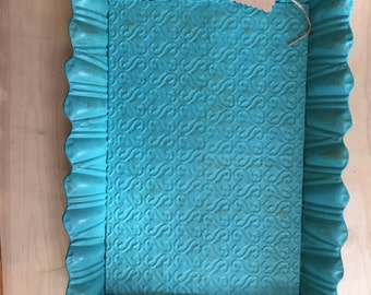 Turquoise Rustic Metal Tray Distressed