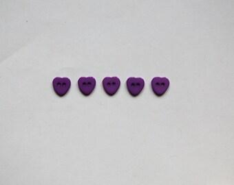 "Set: 5 violet  buttons ""Hearts"""