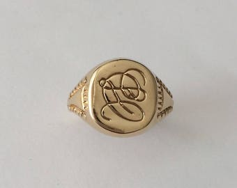 Vintage 1980's Gold Plated Cursive Monogram CL Initials Signet Ring Size Z