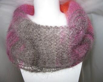 Loop scarf scarf Strickloop mohair silk gradient orange red pink Mocha