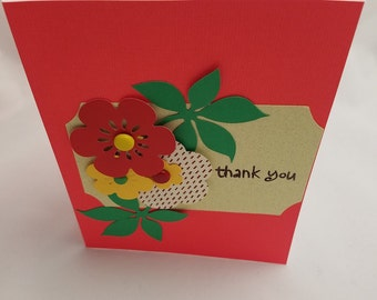 """Handmade Floral """"Thank You """" Card- Just Because Card- Any Occasion Card- Note Card- Stationery Cards"""