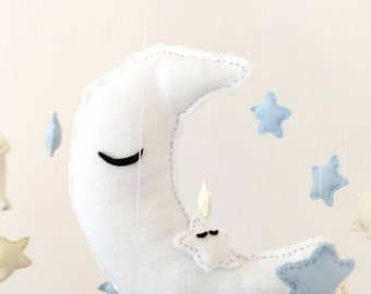 Moon and Stars Baby Mobile Nursery Decor Baby Boy Baby Girl Gender Neutral Baby Mobile Nursery Decoration Goodnight Moon